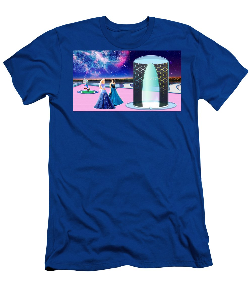 Diana Men's T-Shirt (Athletic Fit) featuring the painting Tranquility Lake by Victor Kent