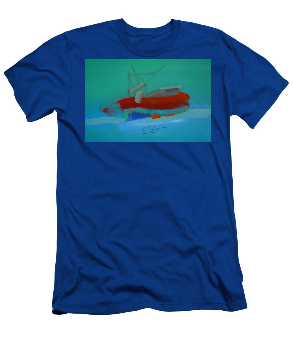 Fishing Boat Men's T-Shirt (Athletic Fit) featuring the painting Trawler by Charles Stuart