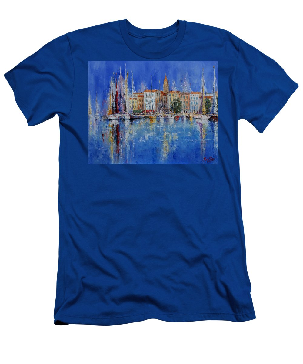 Ports Men's T-Shirt (Athletic Fit) featuring the painting Trogir - Croatia by Miroslav Stojkovic - Miro