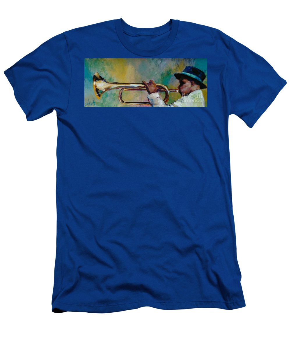 Young Man Men's T-Shirt (Athletic Fit) featuring the painting Trumpeter by Beverly Boulet