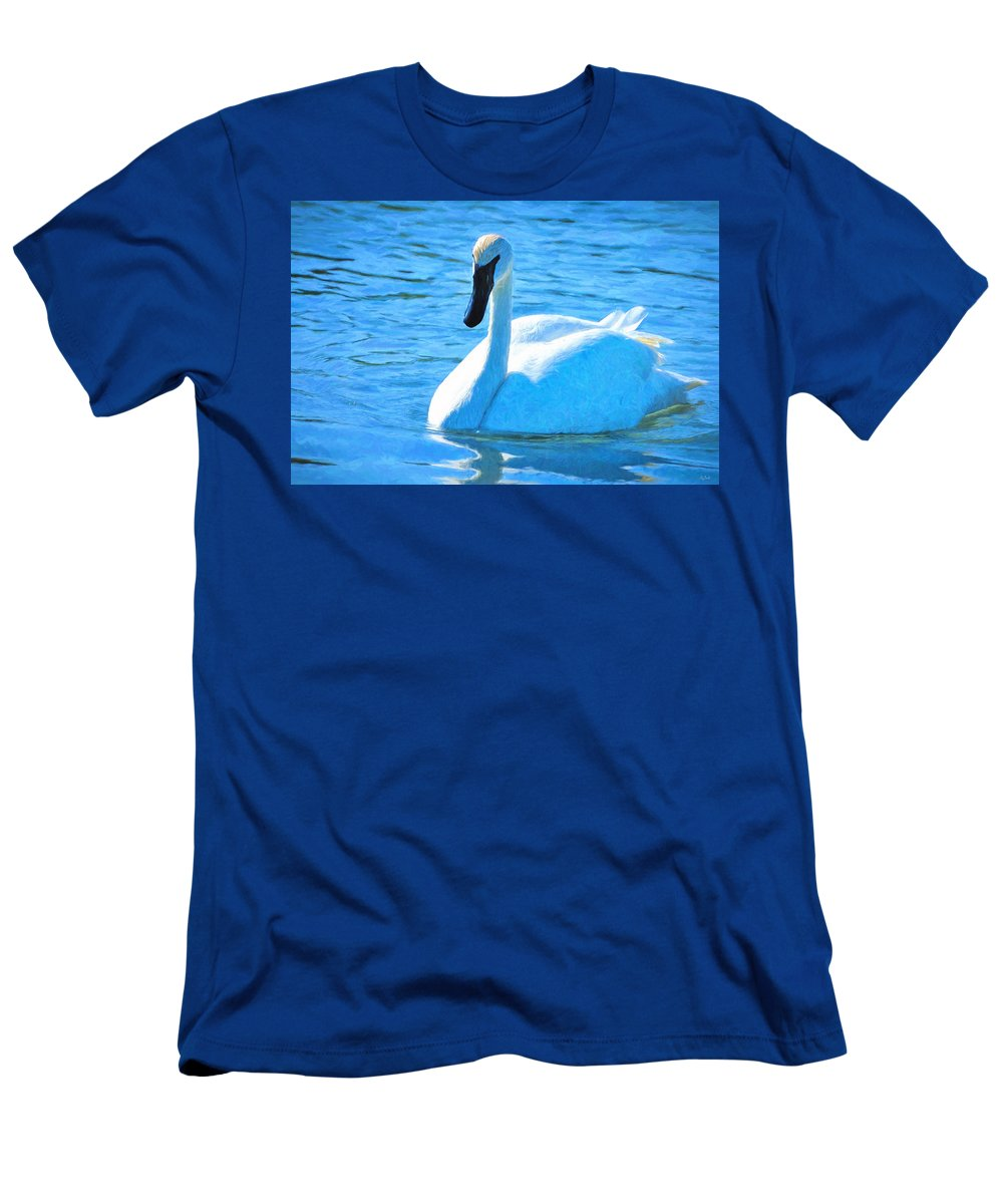 Swan Men's T-Shirt (Athletic Fit) featuring the photograph Trumpeter Swan Impressions by Greg Norrell