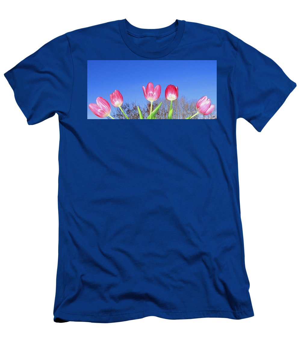 Tulips Men's T-Shirt (Athletic Fit) featuring the photograph Tulip Panorama by Will Borden