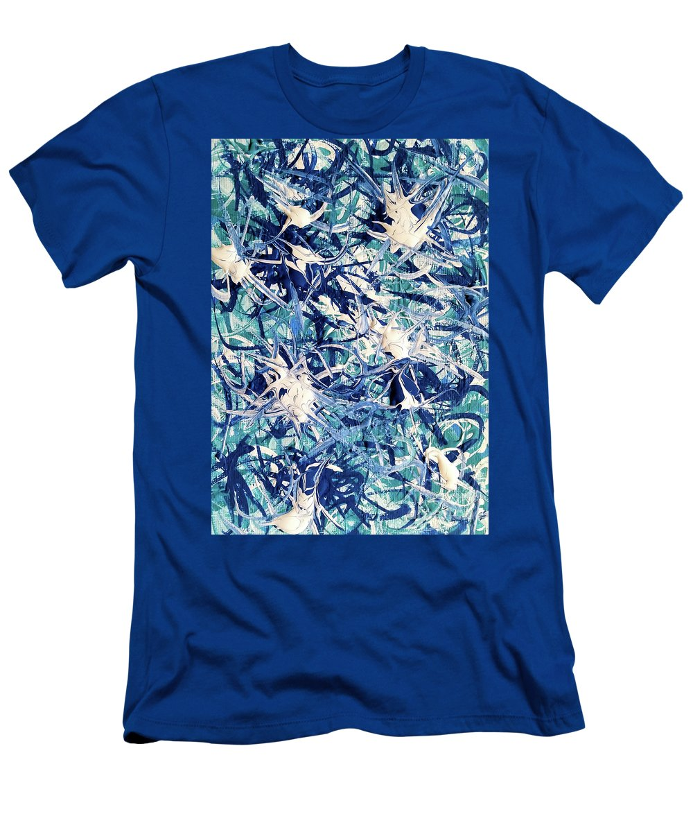 Turquoise Men's T-Shirt (Athletic Fit) featuring the painting Turbo Turquoise by Jackie Carpenter