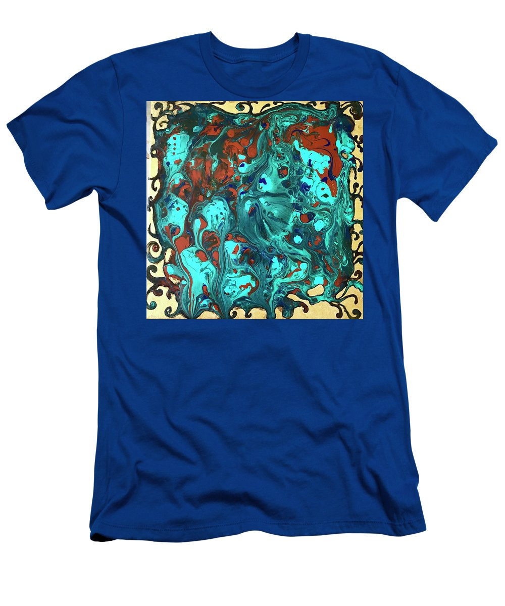 Abstract Art T-Shirt featuring the mixed media Turquoise Splash by Rae Chichilnitsky