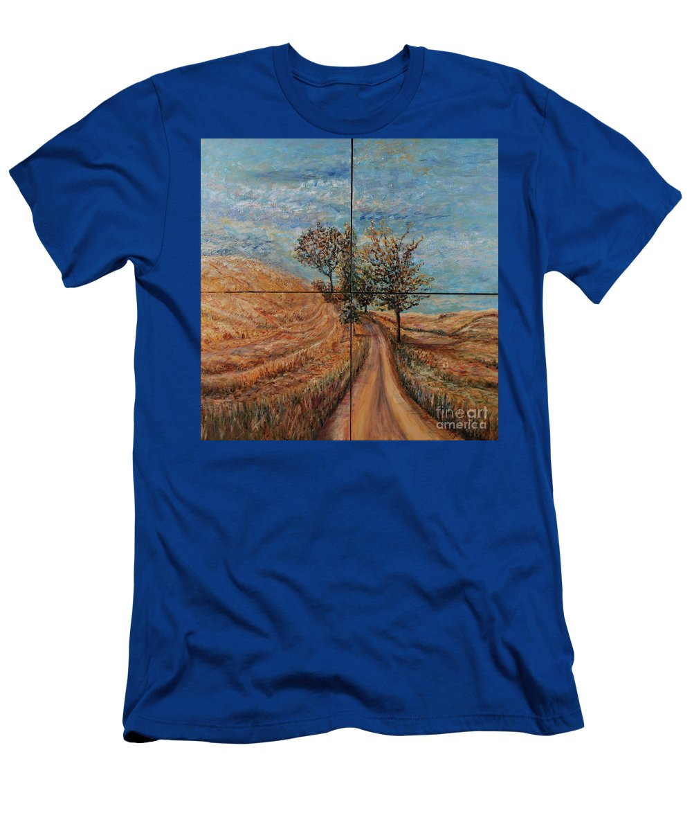 Landscape T-Shirt featuring the painting Tuscan Journey by Nadine Rippelmeyer