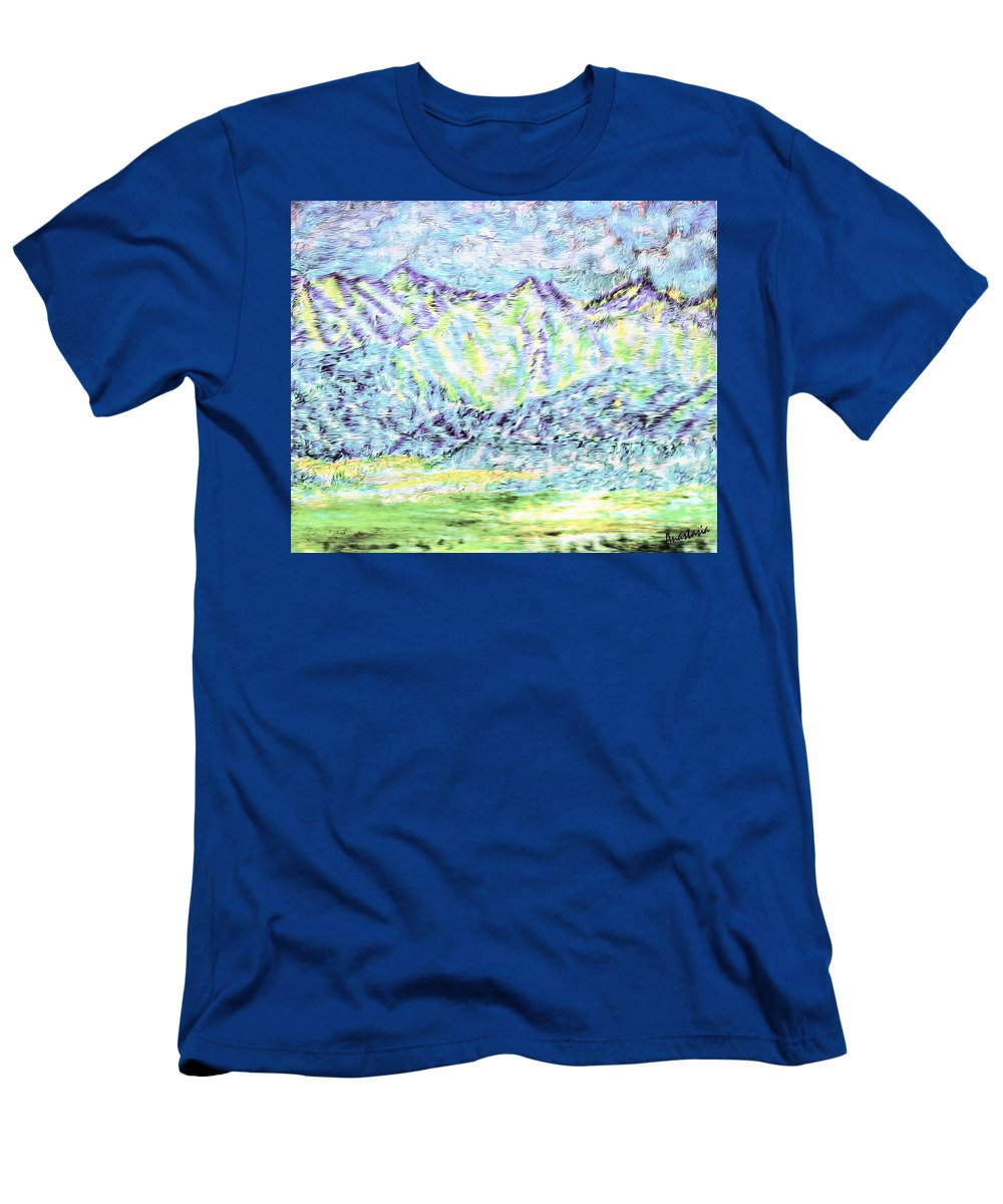 Mountains Men's T-Shirt (Athletic Fit) featuring the painting Tusheti Hay Meadows Caucasus Mountains I by Anastasia Savage Ealy