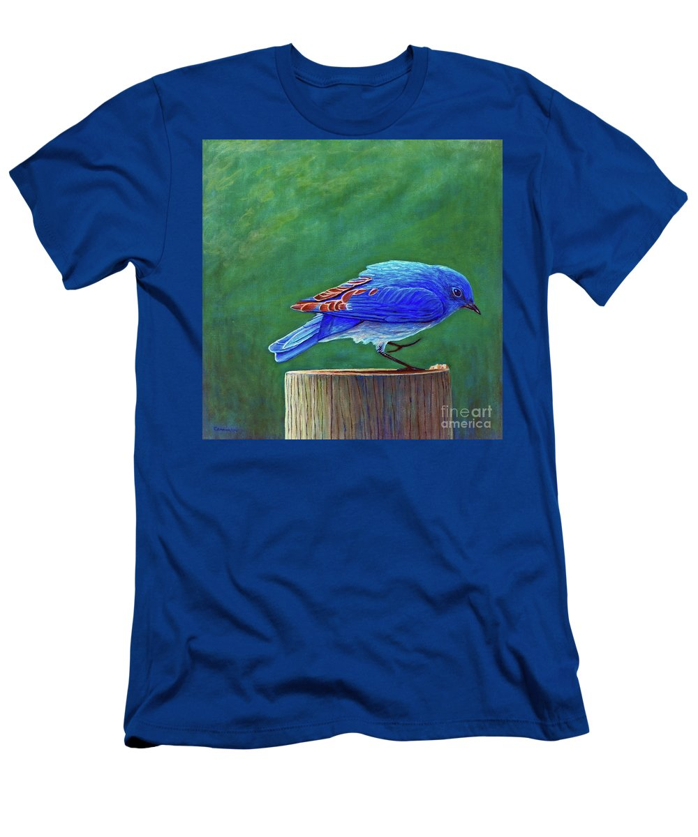 Bluebird Men's T-Shirt (Athletic Fit) featuring the painting Two Step by Brian Commerford