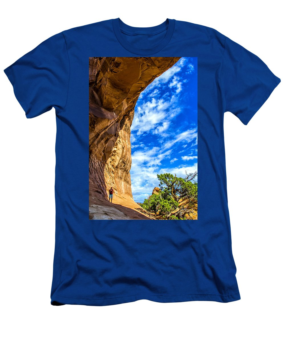 Arches Men's T-Shirt (Athletic Fit) featuring the photograph Under The Arch by Roberta Bragan