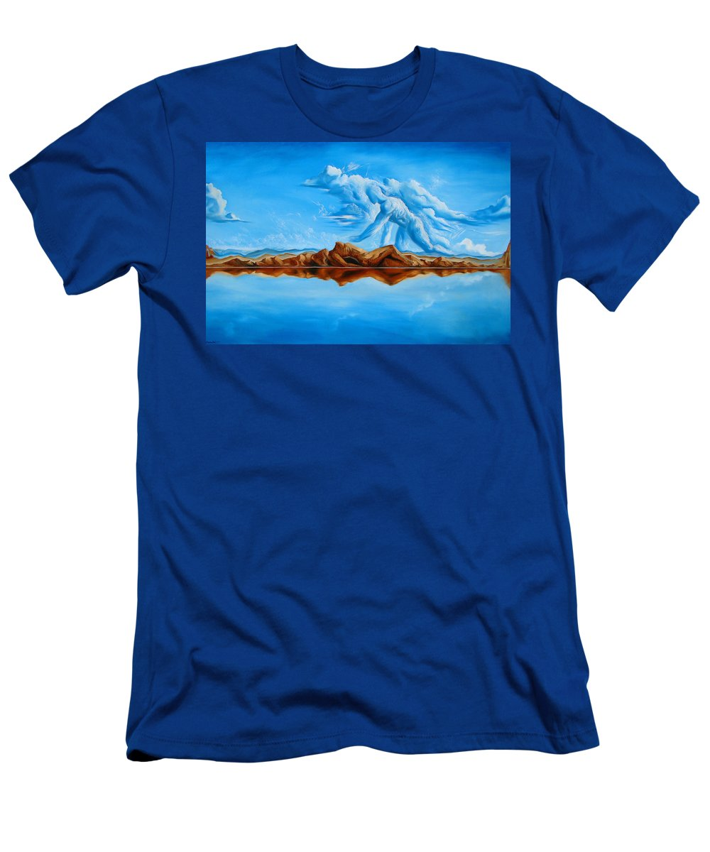 Surrealism Men's T-Shirt (Athletic Fit) featuring the painting Unfinished Business by Darwin Leon