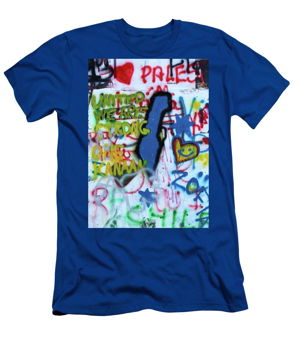 Palestine Map Men's T-Shirt (Athletic Fit) featuring the photograph United We Are Strong by Munir Alawi