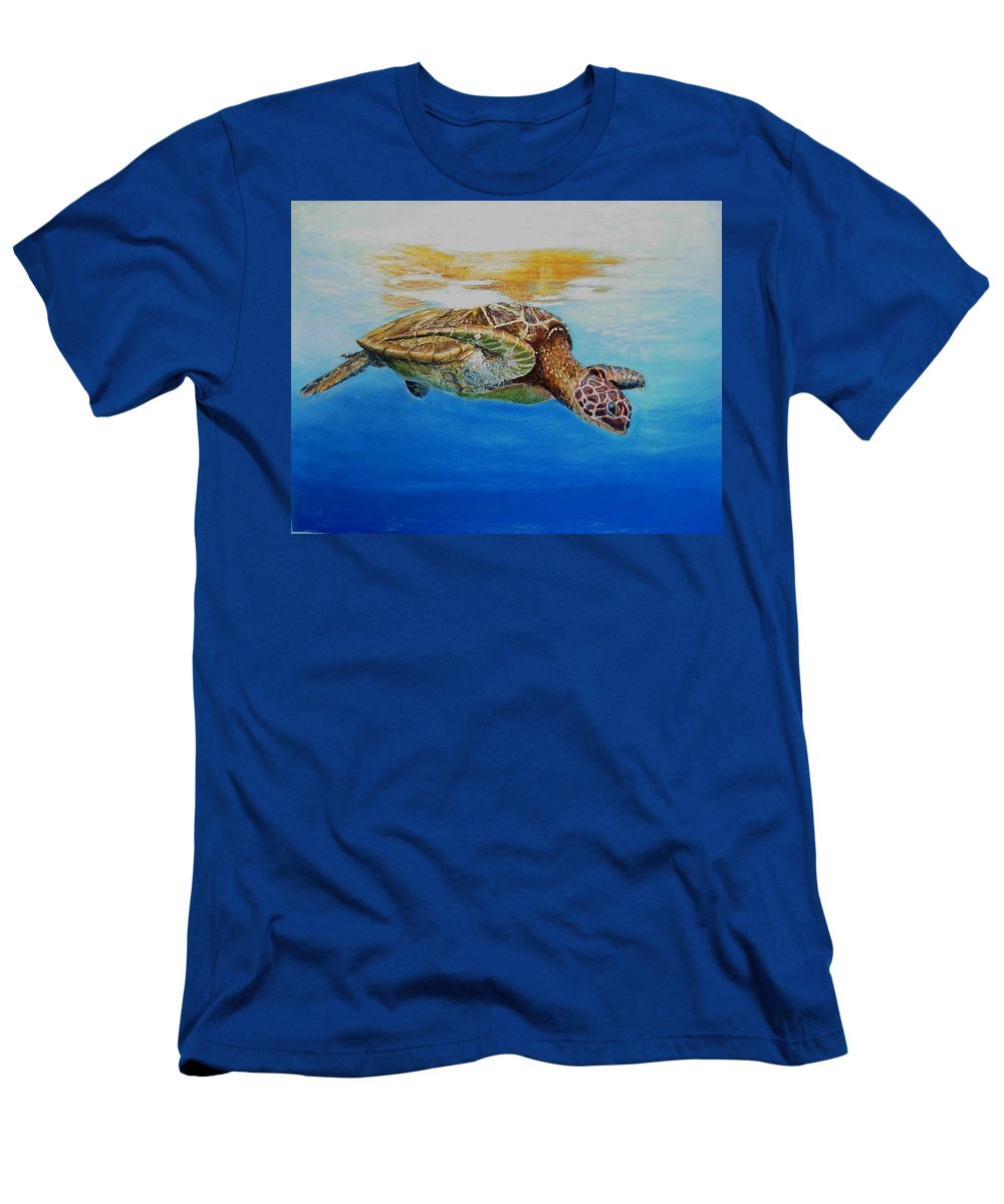 Wildlife Men's T-Shirt (Athletic Fit) featuring the painting Up For Some Rays by Ceci Watson