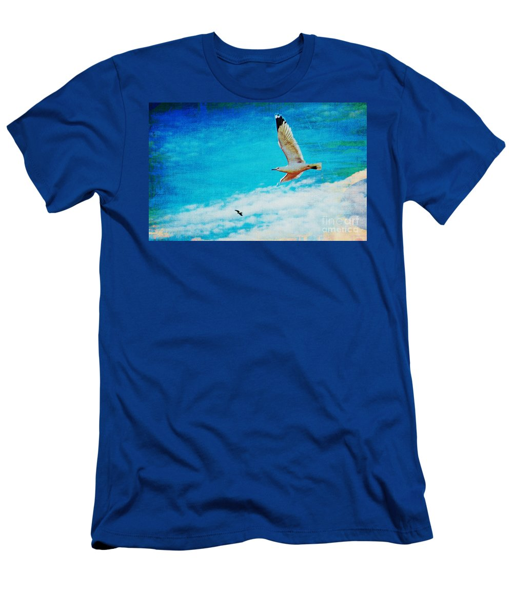 Nature Men's T-Shirt (Athletic Fit) featuring the mixed media Up Up And Away by Don Baker