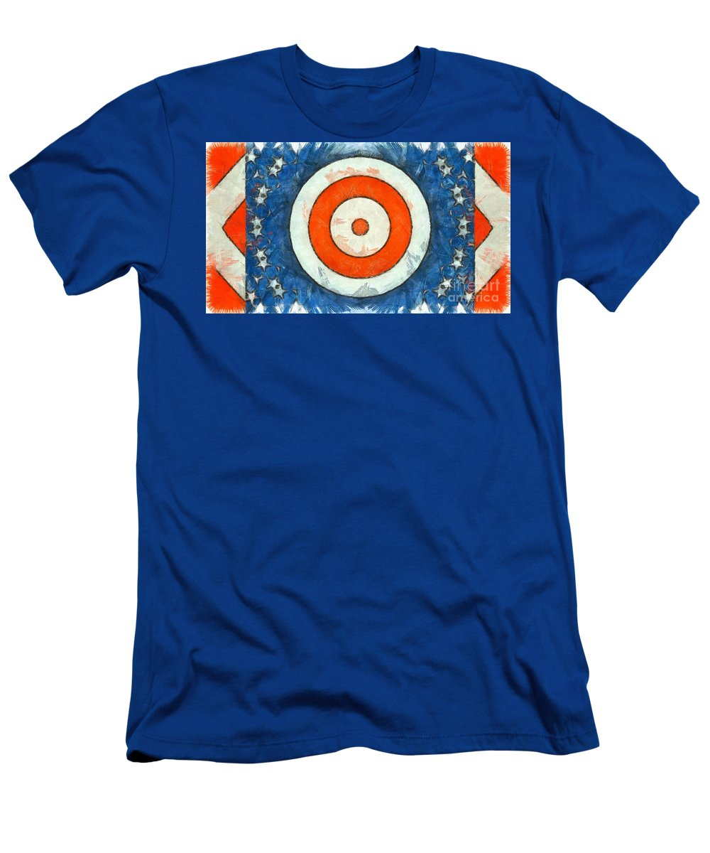 Red Men's T-Shirt (Athletic Fit) featuring the digital art Usa Flag Abstract by Edward Fielding