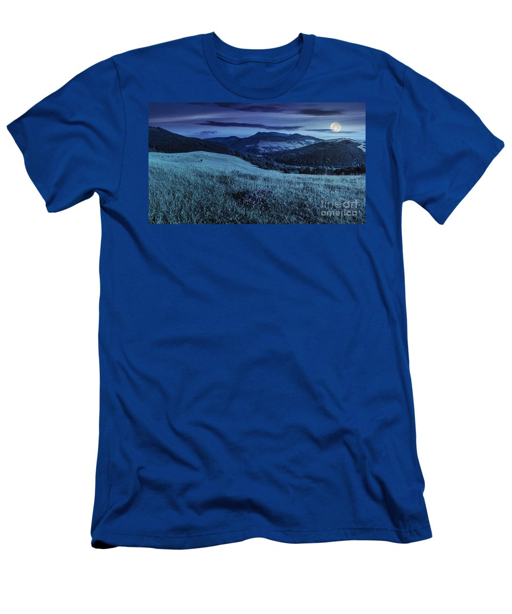 Landscape Men's T-Shirt (Athletic Fit) featuring the photograph Valley In Mountains On Hillside Under Sky With Clouds At Night by Michael Pelin
