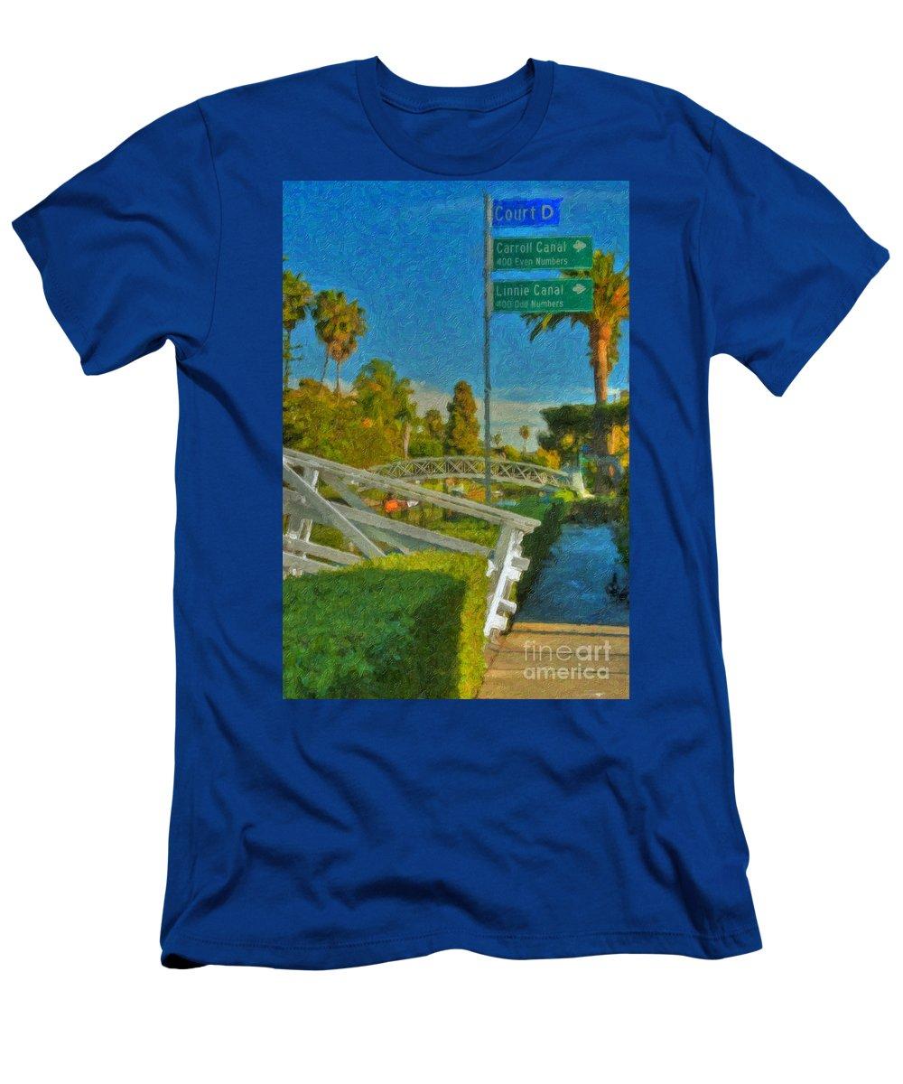 Venice Canal Bridge Signs Men's T-Shirt (Athletic Fit) featuring the photograph Venice Canal Bridge Signs by David Zanzinger