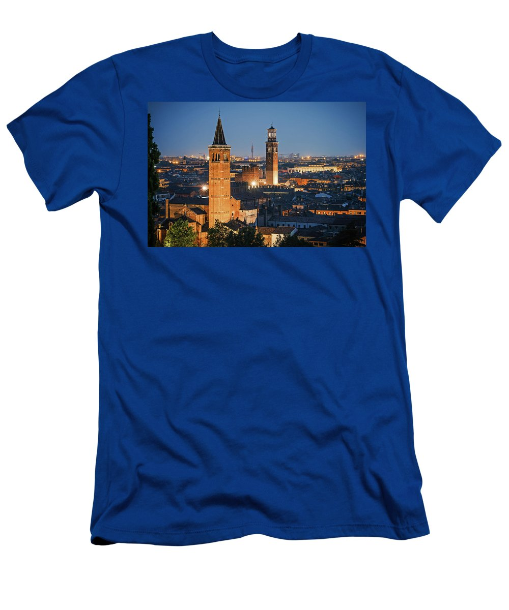 Verona Men's T-Shirt (Athletic Fit) featuring the photograph Verona At Night by Alexander Voss