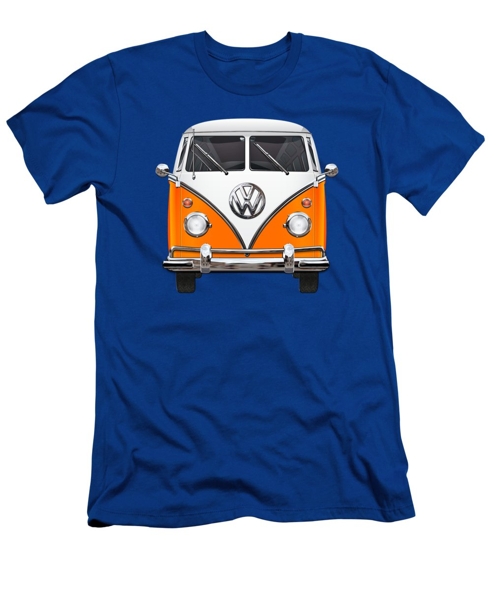 'volkswagen Type 2' Collection By Serge Averbukh Men's T-Shirt (Slim Fit) featuring the photograph Volkswagen Type - Orange And White Volkswagen T 1 Samba Bus Over Blue Canvas by Serge Averbukh
