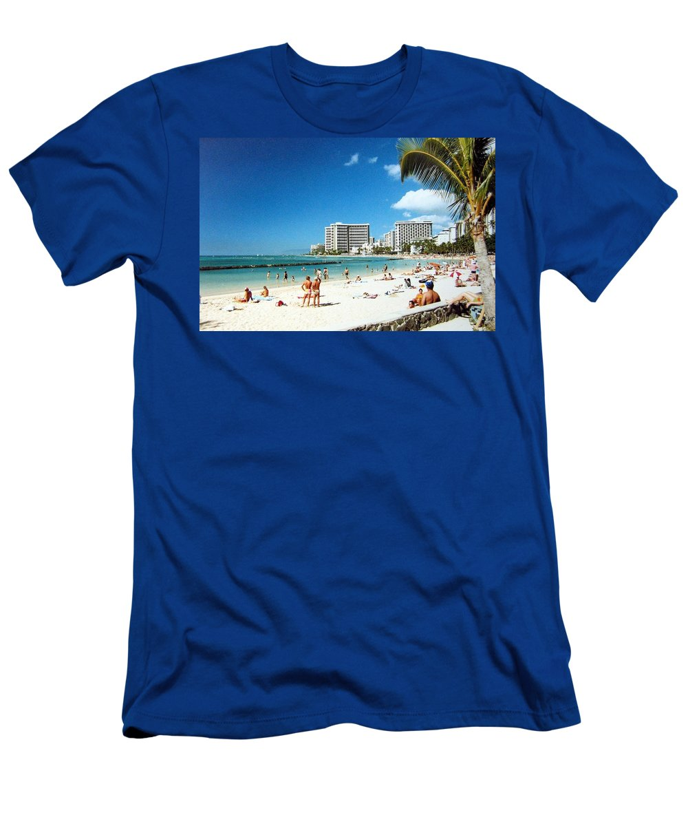 1986 Men's T-Shirt (Athletic Fit) featuring the photograph Waikiki Beach by Will Borden