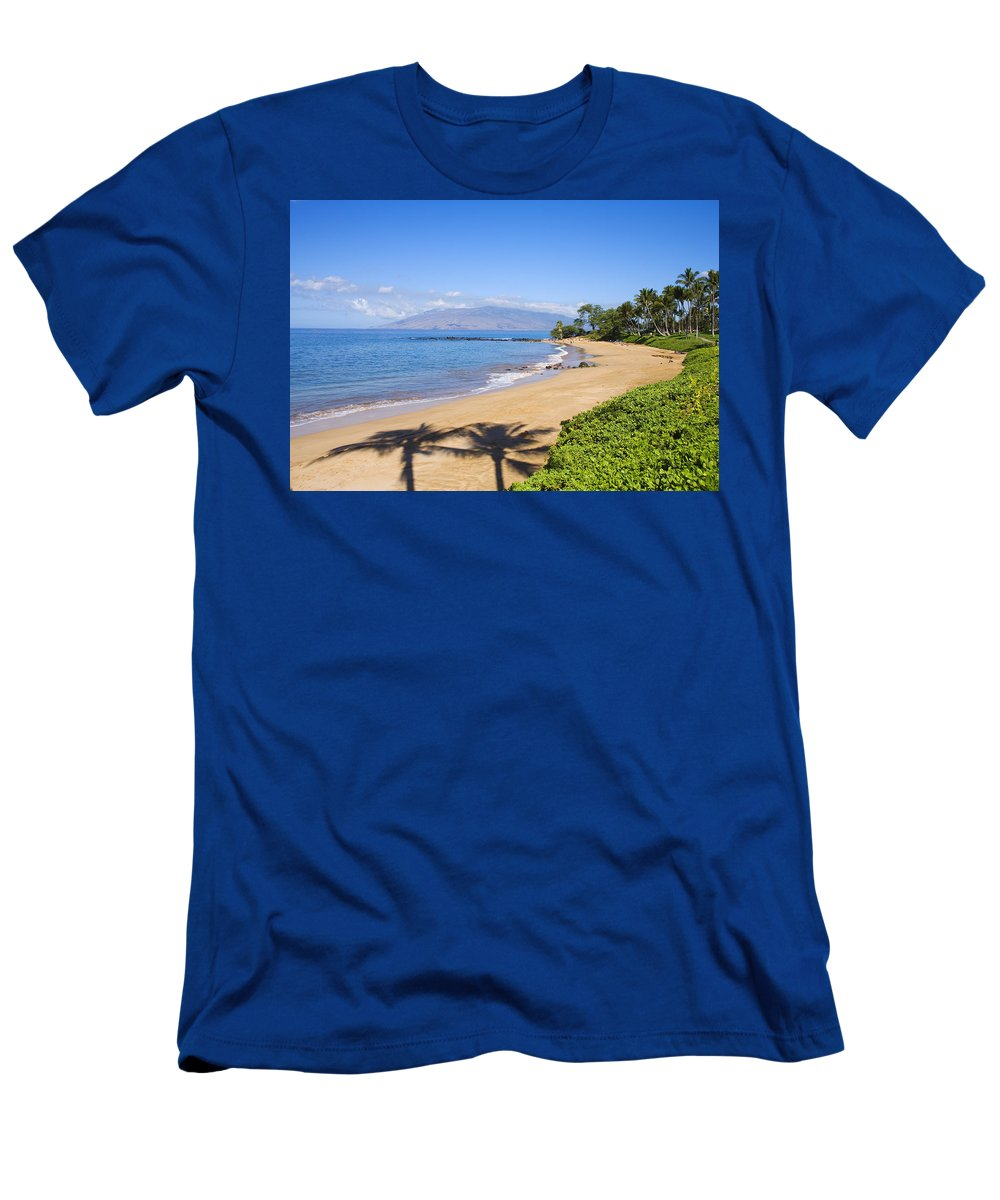 Beach Men's T-Shirt (Athletic Fit) featuring the photograph Wailea, Ulua Beach by Ron Dahlquist - Printscapes