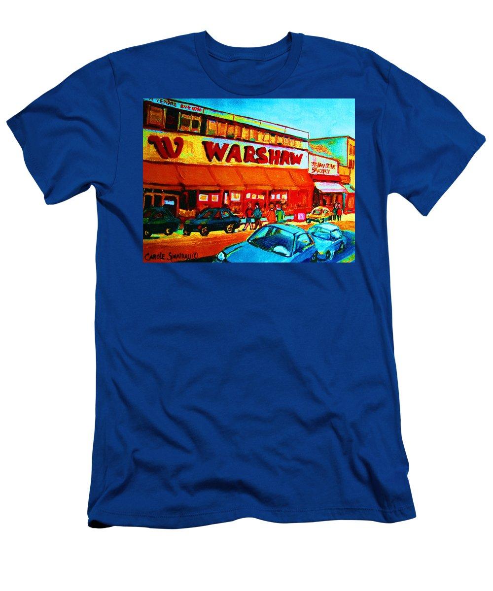 Warshaws Fruit Store T-Shirt featuring the painting Warshaws Fruitstore On Main Street by Carole Spandau