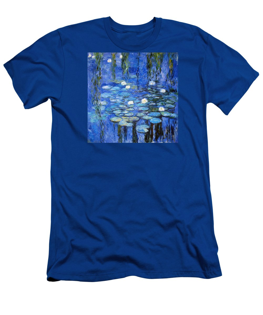 Water Lilies Men's T-Shirt (Athletic Fit) featuring the photograph water lilies a la Monet by Joachim G Pinkawa