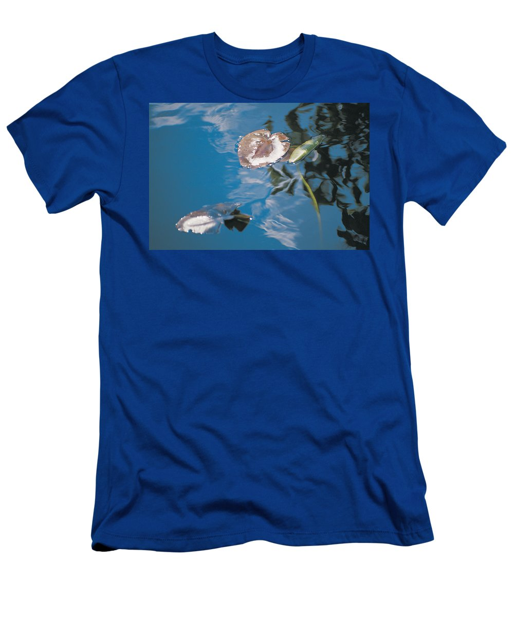 Australia Men's T-Shirt (Athletic Fit) featuring the photograph Water Lily Leaves And Reflection Of Clouds In Unknown Lake by Australian School