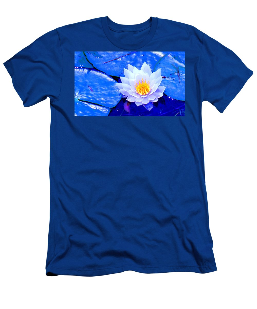 Waterlilly Men's T-Shirt (Athletic Fit) featuring the photograph Blue Water Lily by Ian MacDonald