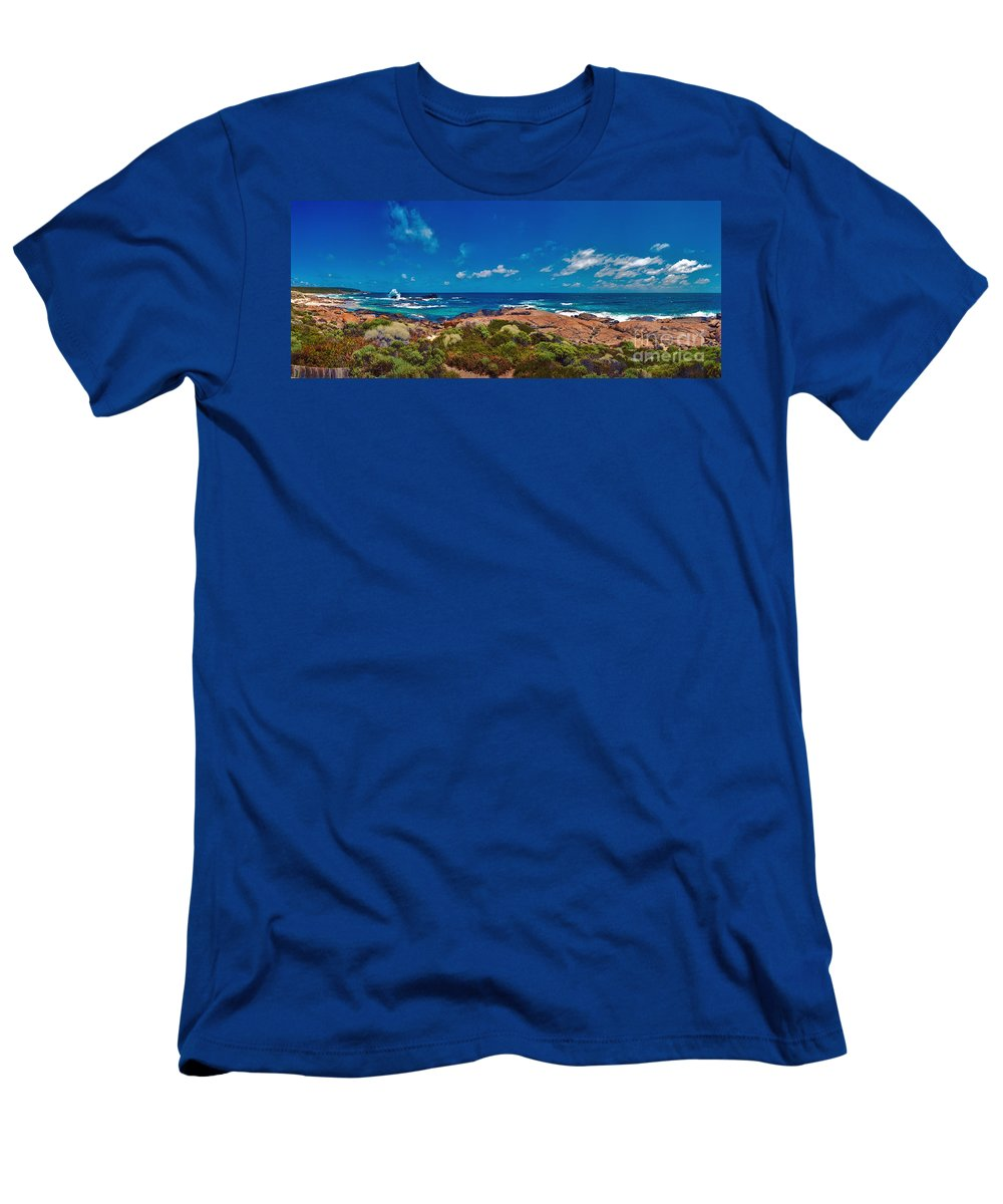 Boodjidup Beach Men's T-Shirt (Athletic Fit) featuring the photograph Western Australia Beach Panorama by David Zanzinger