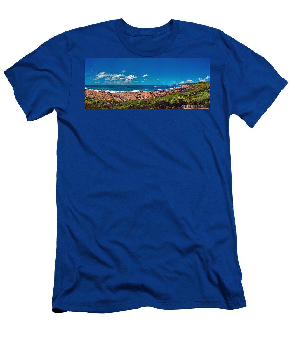 Busselton Jetty; Western Australia; Beach Panorama; Margaret River; Southern Hemisphere; Waterfront; Men's T-Shirt (Athletic Fit) featuring the photograph Western Australia Beach Panorama Margaret River by David Zanzinger
