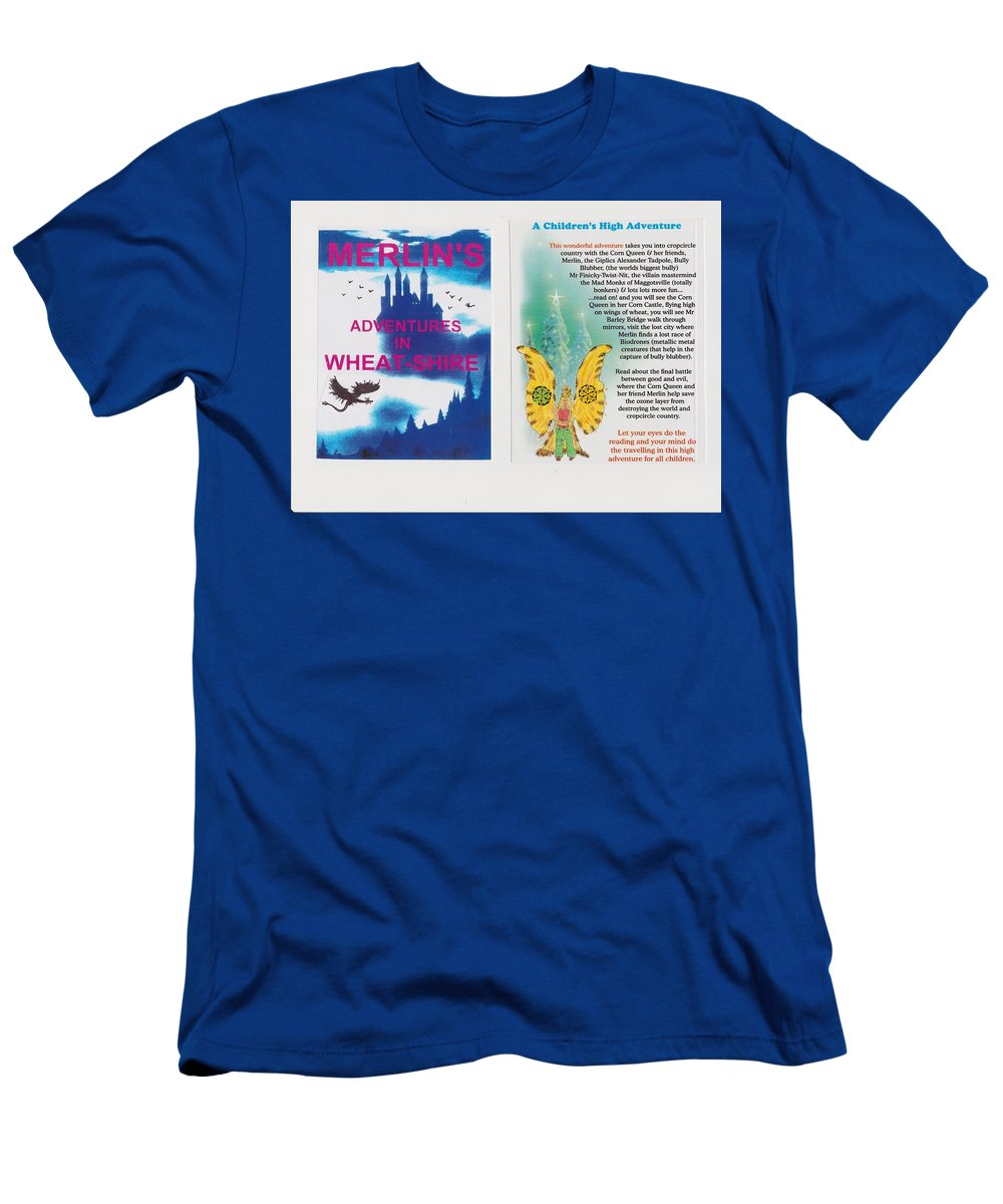 Adventures Books Men's T-Shirt (Athletic Fit) featuring the mixed media  Wheat-shire Theme Park by MERLIN Vernon