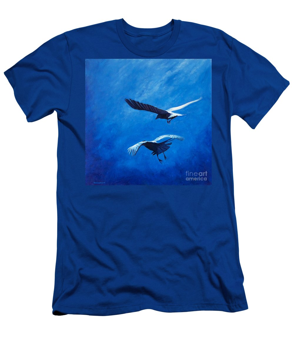 Birds Men's T-Shirt (Athletic Fit) featuring the painting When The Light Comes by Brian Commerford