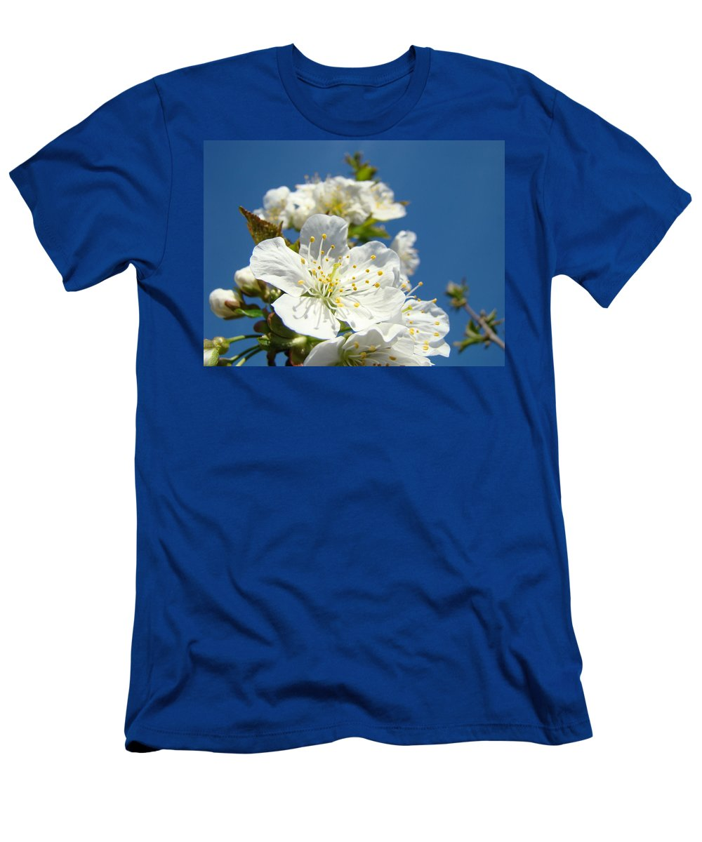 Blossom Men's T-Shirt (Athletic Fit) featuring the photograph White Blossoms Art Prints Spring Tree Blossoms Canvas Baslee Troutman by Baslee Troutman