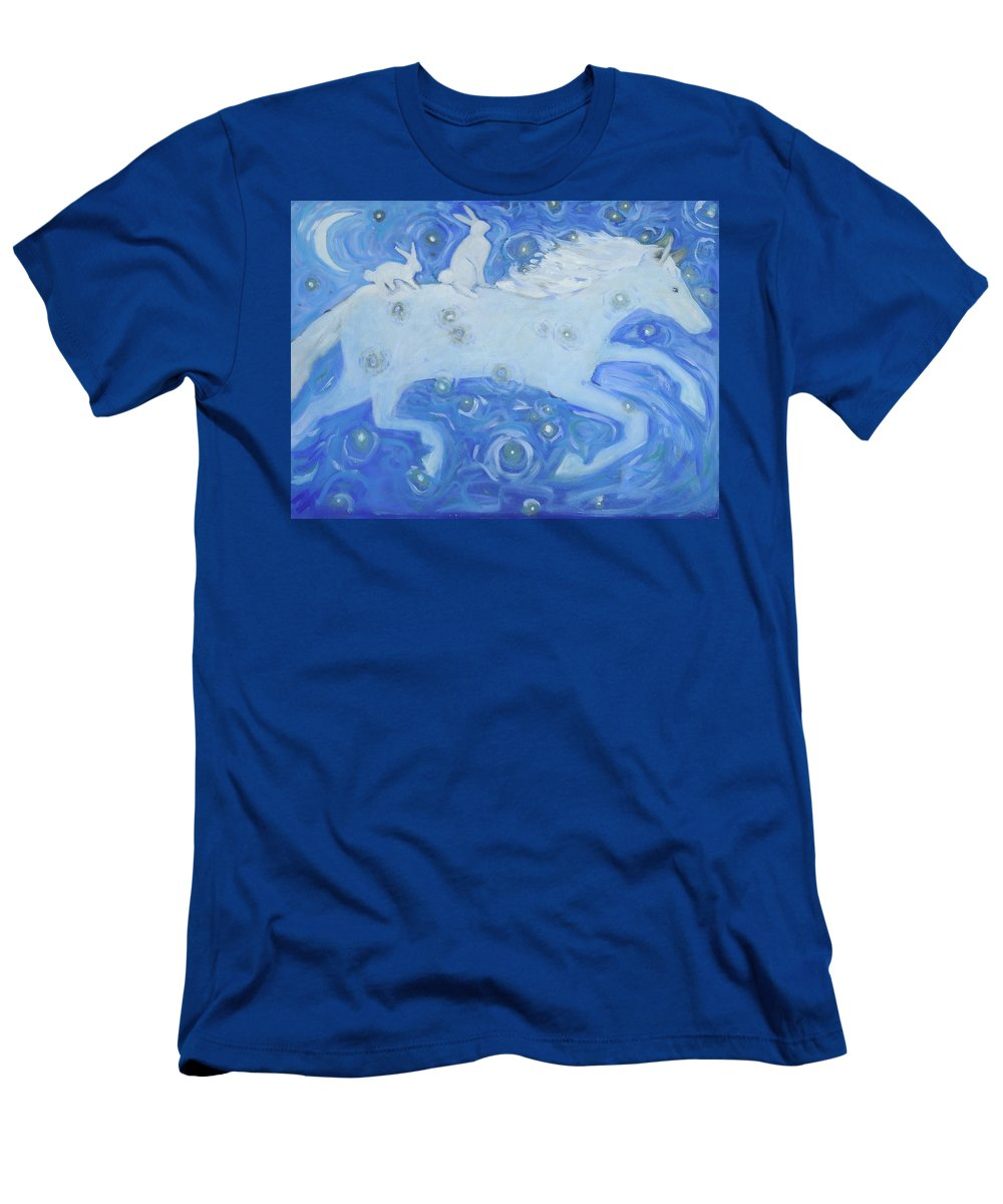 White Horse Men's T-Shirt (Athletic Fit) featuring the painting White Horse With Rabbits by Jean Stark