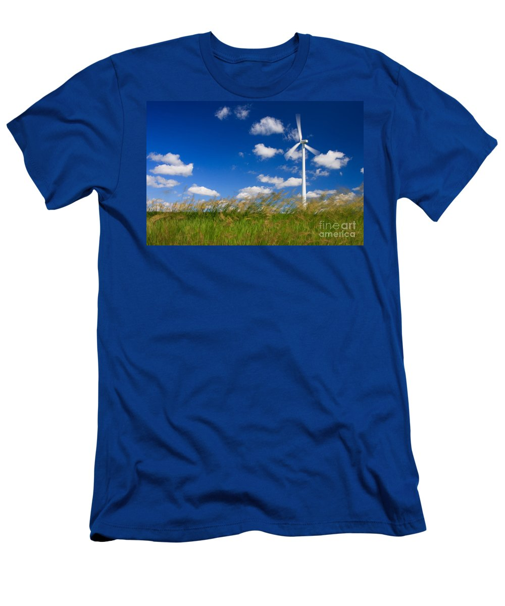 Wind Men's T-Shirt (Athletic Fit) featuring the photograph Wind Power 2 by Bob Mintie