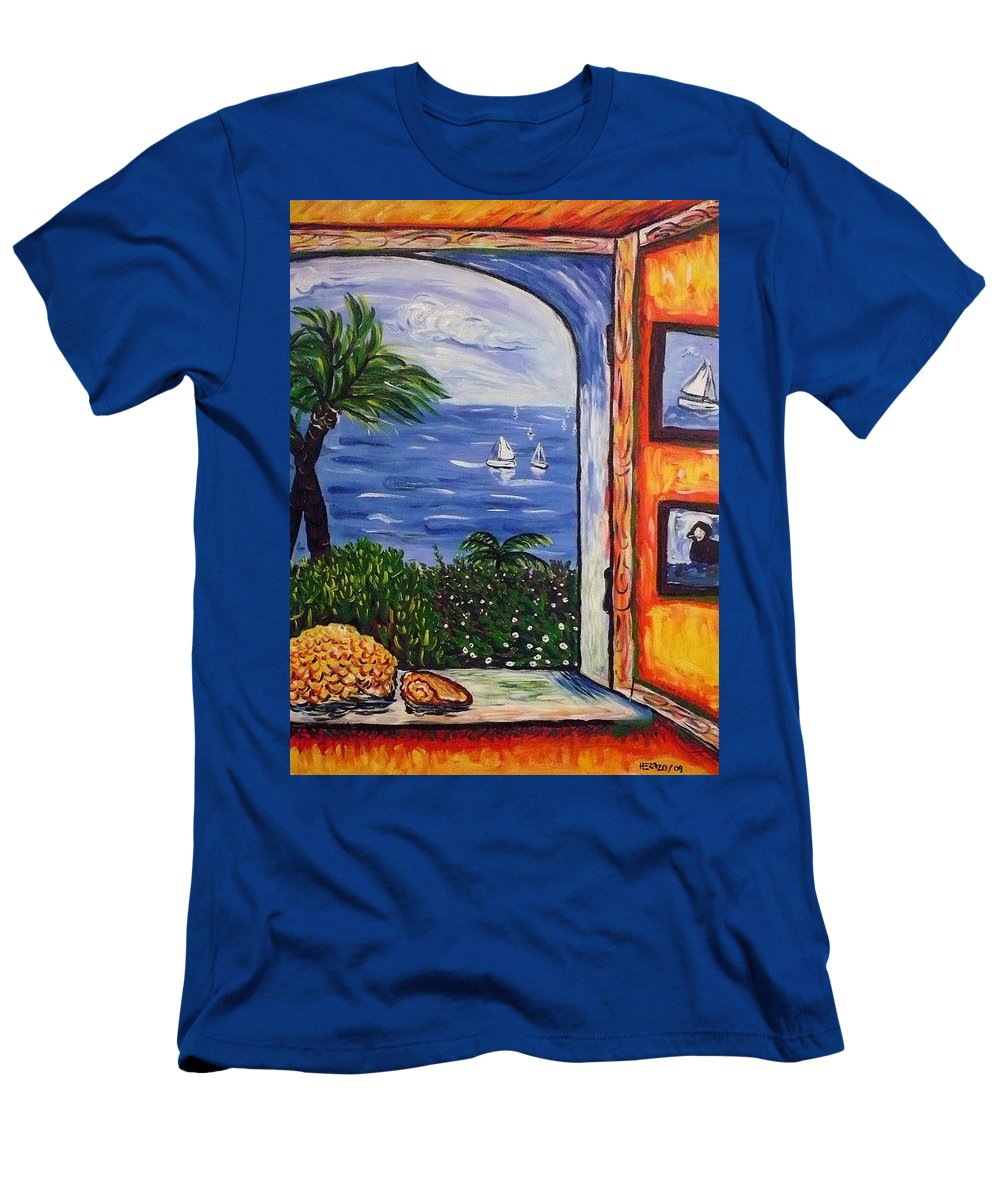 Landscape Men's T-Shirt (Athletic Fit) featuring the painting Window With Coral by Ericka Herazo