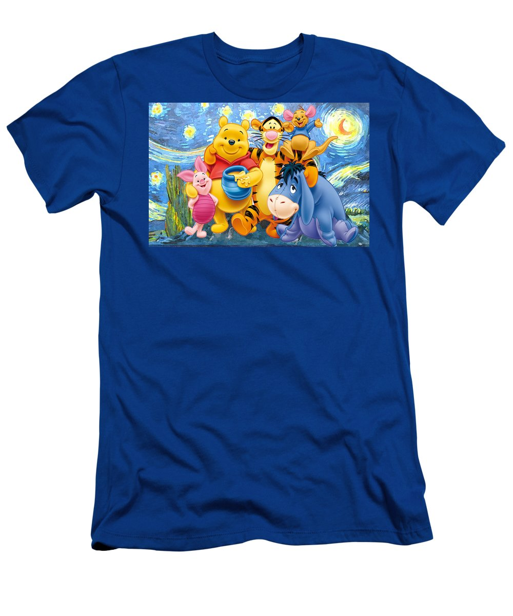 Winnie The Pooh Starry Night T-Shirt featuring the digital art Winnie the Pooh Starry Night by Midex Planet