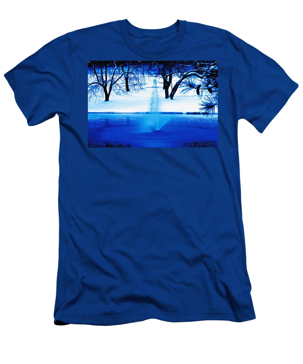 Winter Men's T-Shirt (Athletic Fit) featuring the photograph Winter Fountain 2 by David Campbell