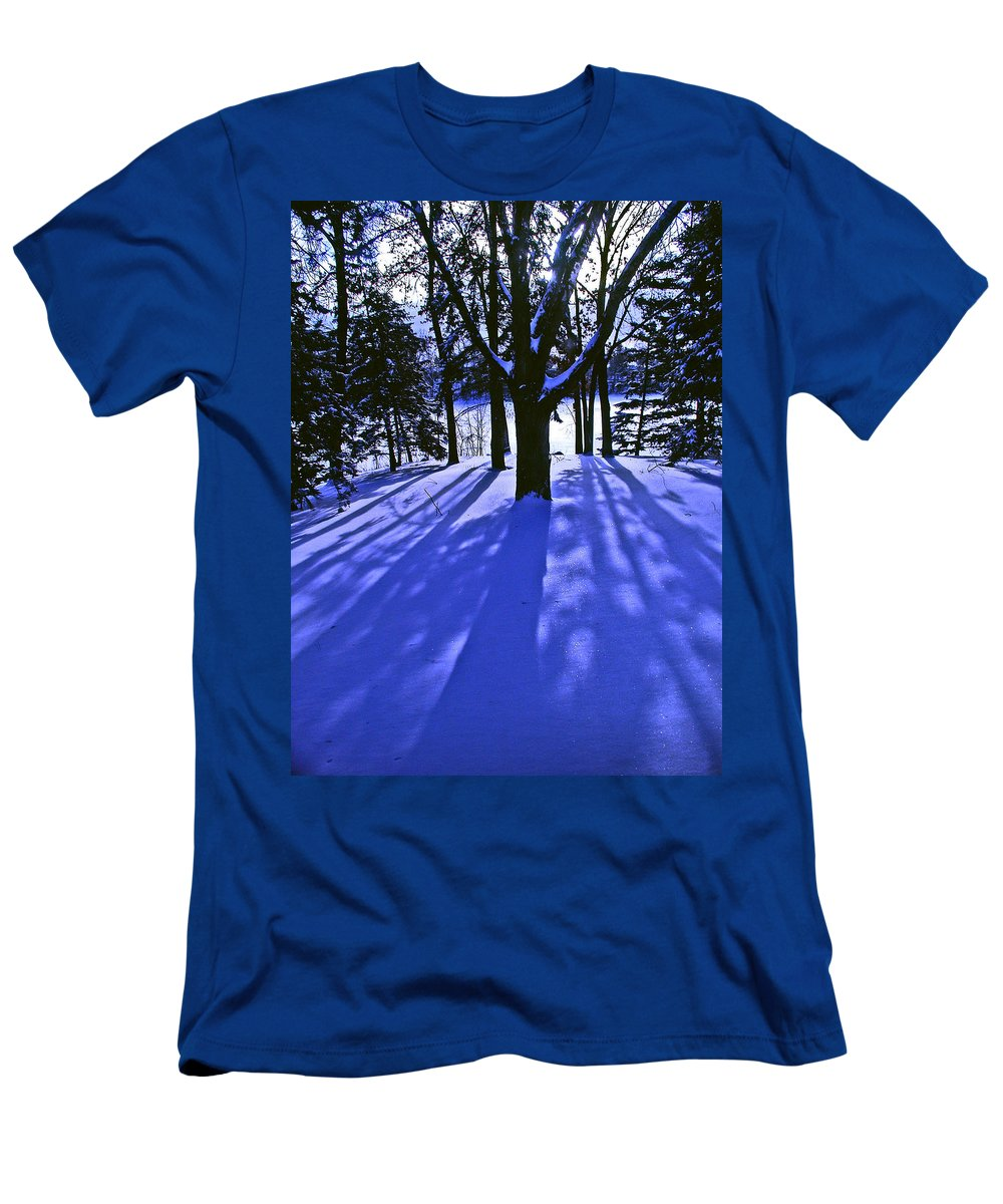 Landscape Men's T-Shirt (Athletic Fit) featuring the photograph Winter Shadows by Tom Reynen
