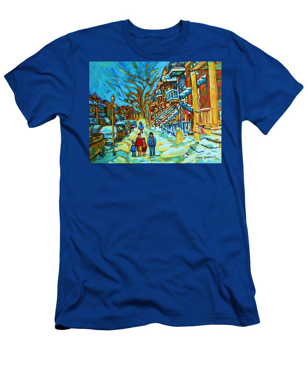 Winterscenes Men's T-Shirt (Athletic Fit) featuring the painting Winter Walk In The City by Carole Spandau