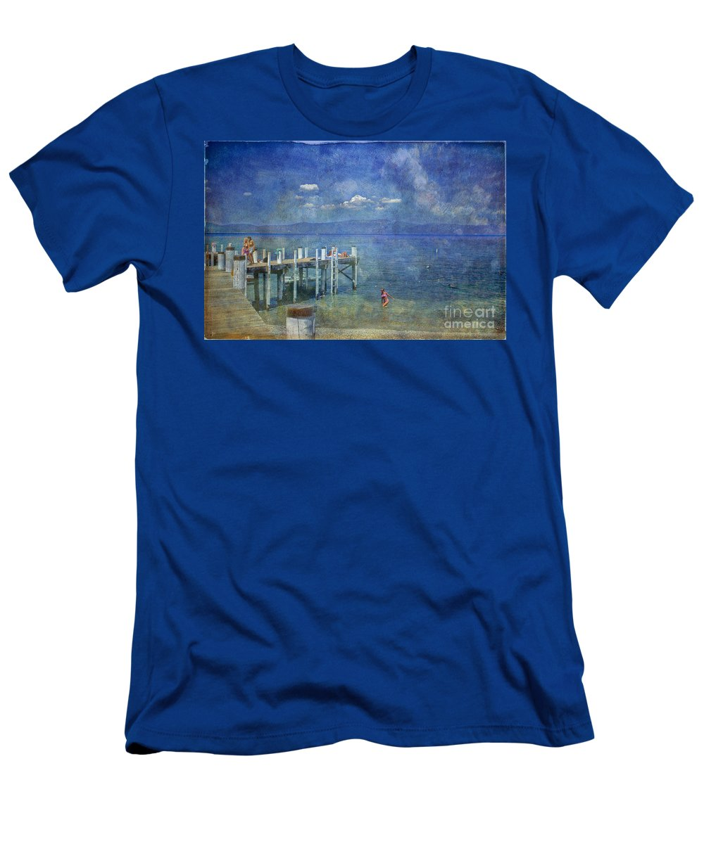 Chambers Landing Lake Tahoe Ca Men's T-Shirt (Athletic Fit) featuring the photograph Wish You Were Here Chambers Landing Lake Tahoe Ca by David Zanzinger