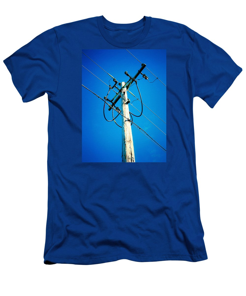 Wooden Electric Pole Men's T-Shirt (Athletic Fit) featuring the painting Wooden Electric Pole by Jeelan Clark
