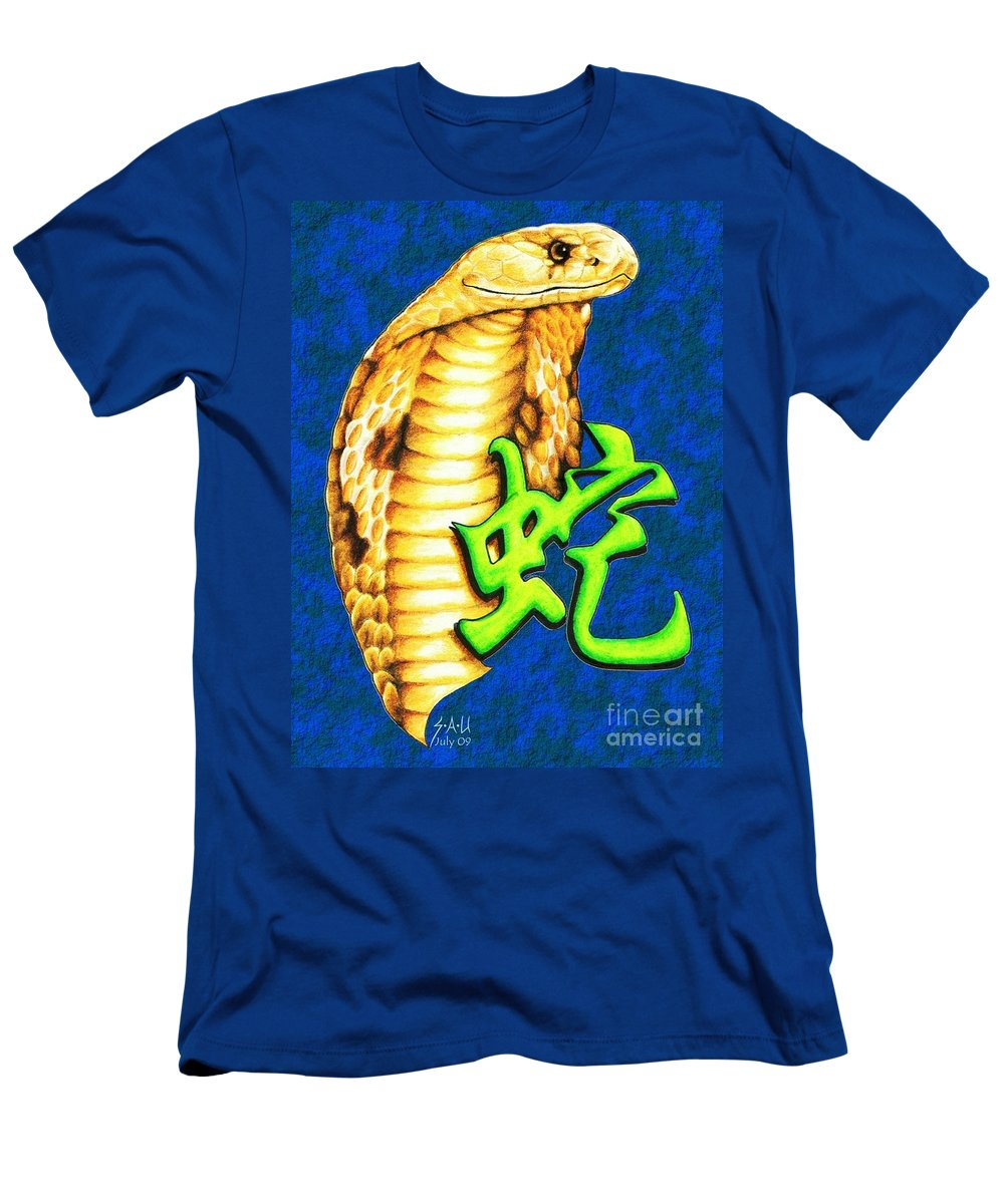 Snake Men's T-Shirt (Athletic Fit) featuring the drawing Year Of The Snake by Sheryl Unwin
