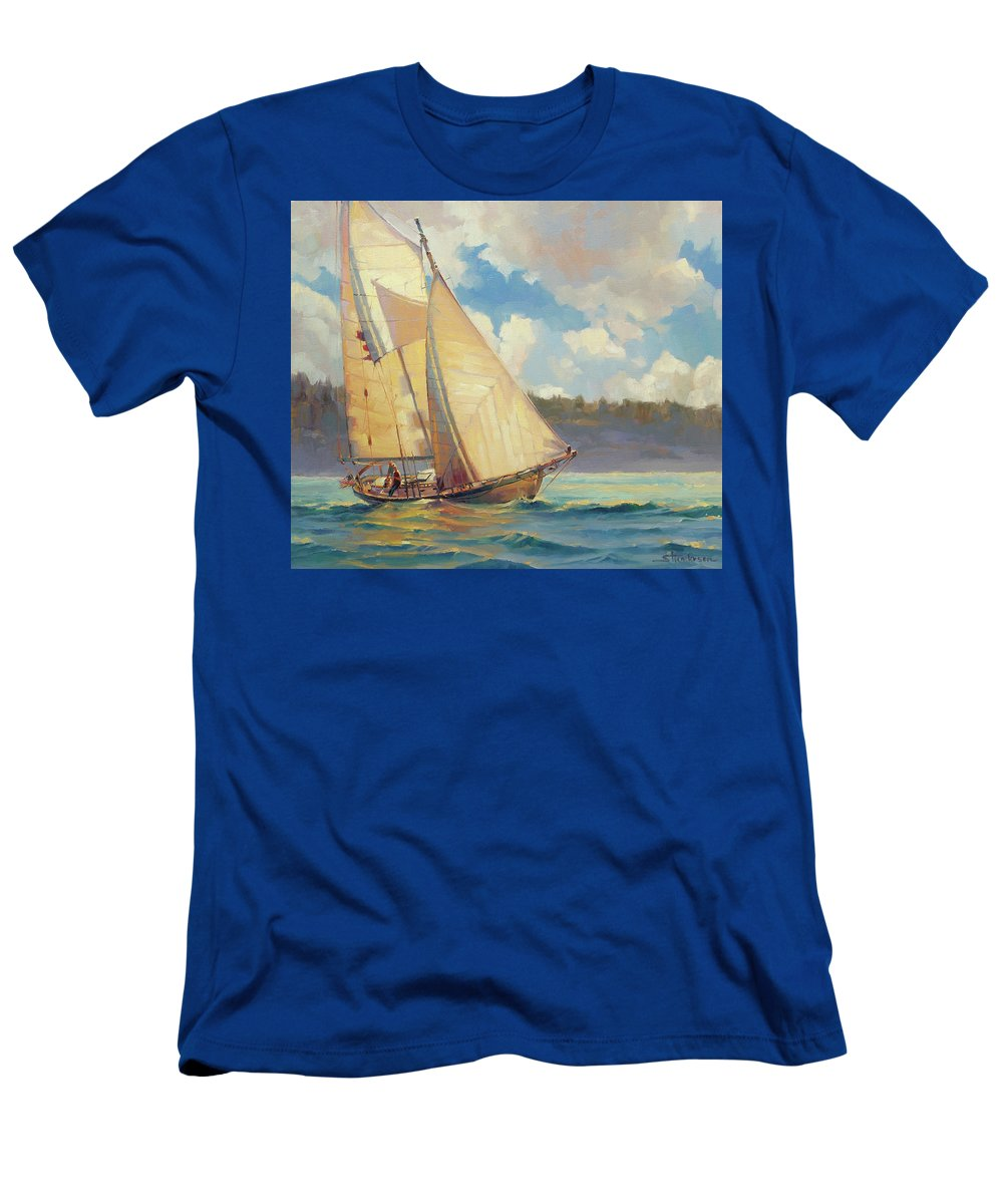 Sailboat T-Shirt featuring the painting Zephyr by Steve Henderson
