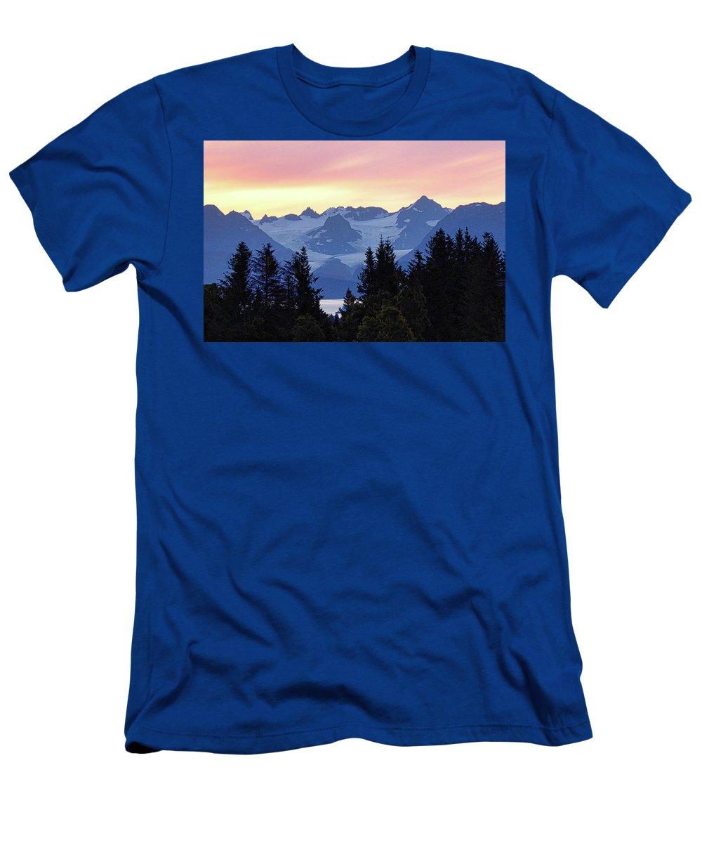 Homer Men's T-Shirt (Athletic Fit) featuring the photograph Alaska's Kenai Mountains At Dawn by David Frankel