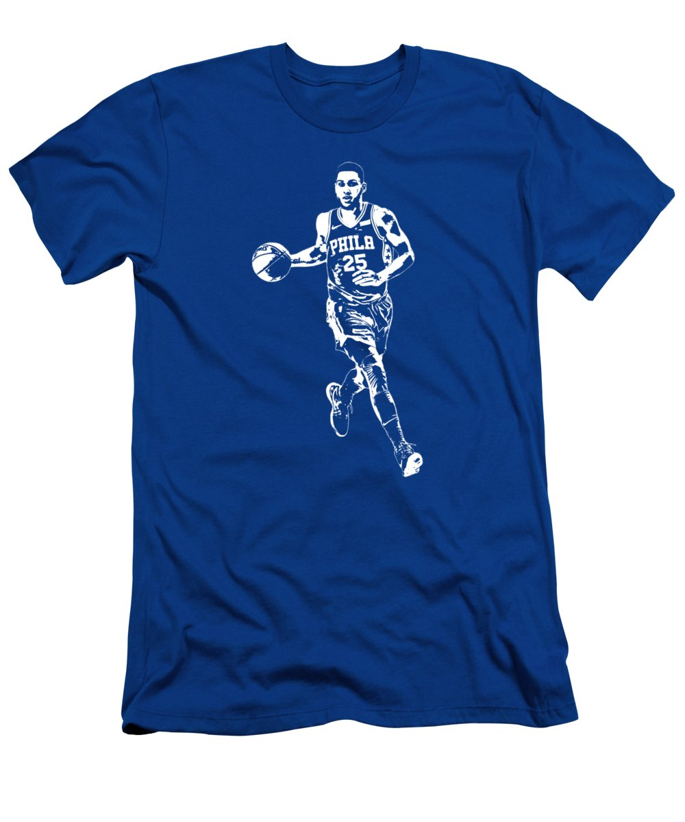 Ben Simmons Men's T-Shirt (Athletic Fit) featuring the mixed media Ben Simmons Philadelphia 76ers T Shirt Apparel Pixel Art 3 by Joe Hamilton