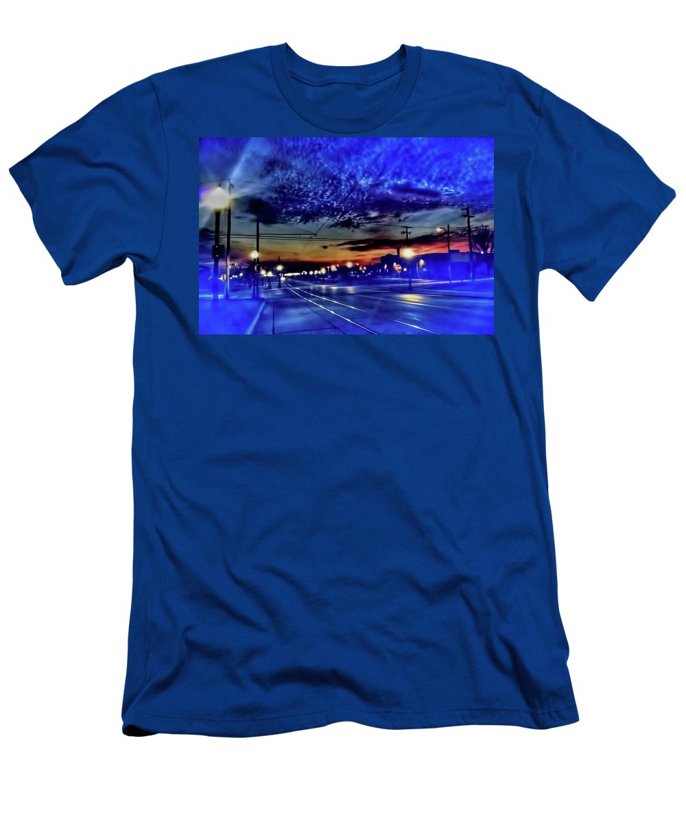Bus Men's T-Shirt (Athletic Fit) featuring the photograph Bus Stop Sunrise by Cindy Boyd
