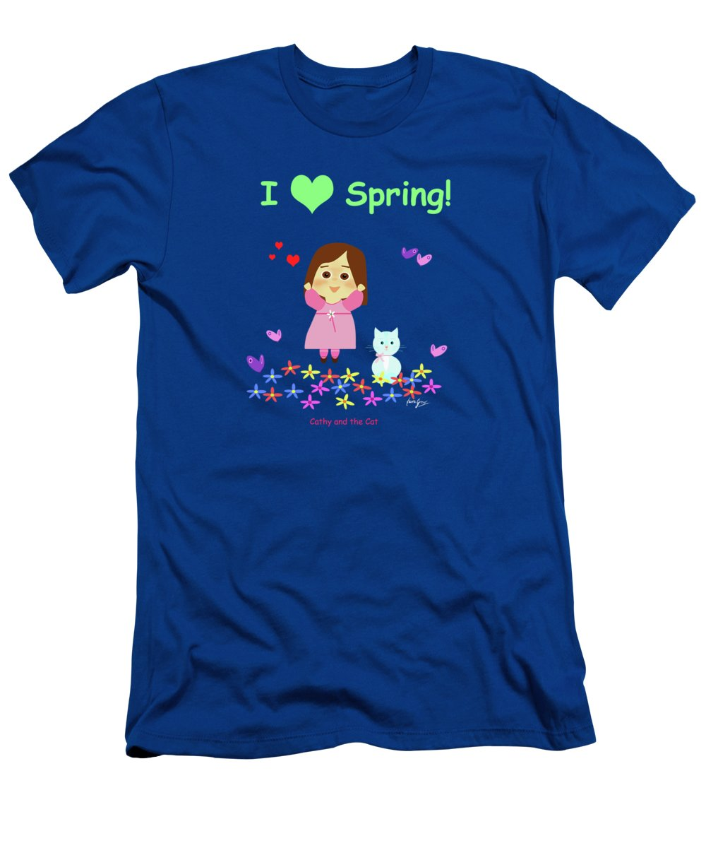Cat T-Shirt featuring the painting Cathy And The Cat I Love Spring by Laura Greco