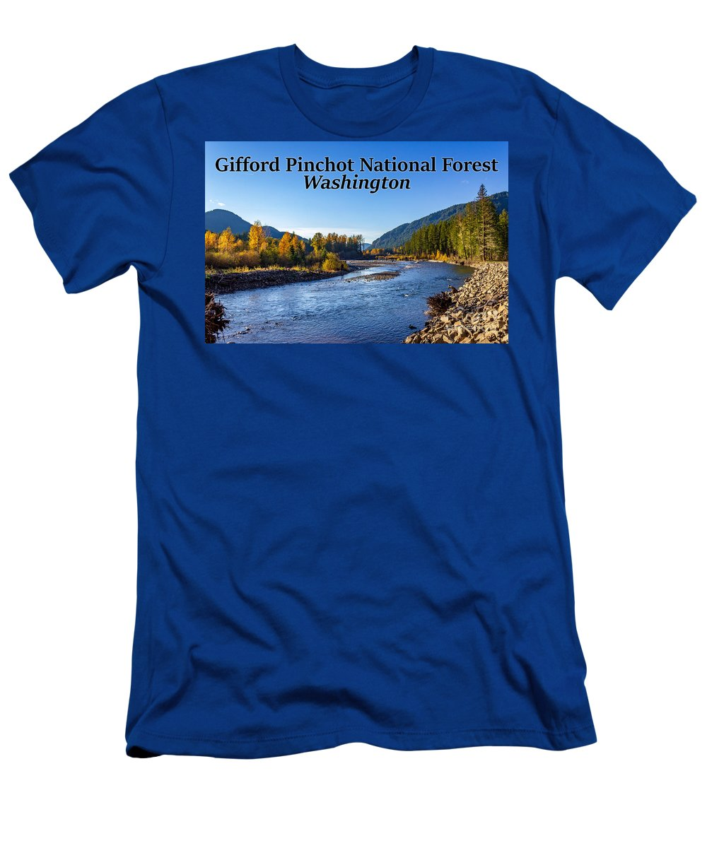 Cispus River Men's T-Shirt (Athletic Fit) featuring the photograph Cispus River In The Gifford Pinchot National Forest, Washington State by G Matthew Laughton