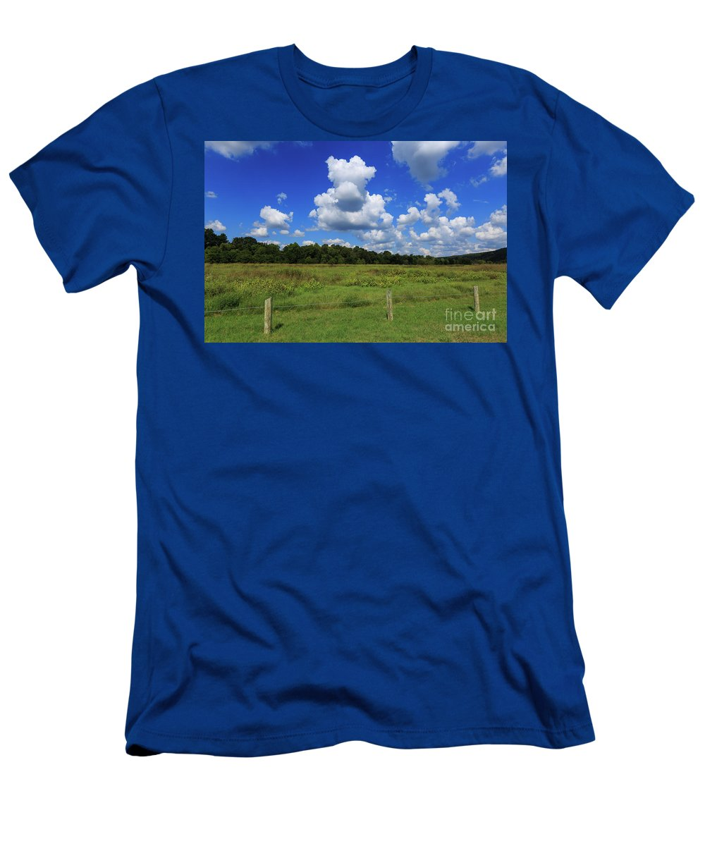 Buffalo River Men's T-Shirt (Athletic Fit) featuring the photograph Clouds Surround The Landscape by Terri Morris