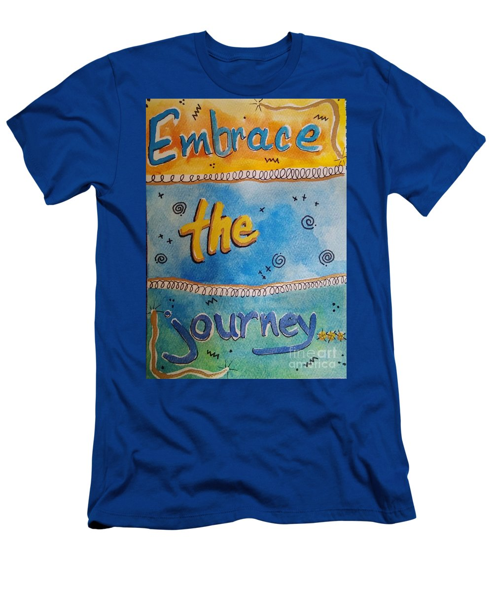 Painting Men's T-Shirt (Athletic Fit) featuring the painting Embrace The Journey. by E Buchanan